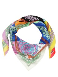 Versace Flower Printed Silk Square Scarf Multicolor