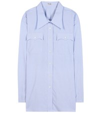 Miu Miu Oversized Cotton Blouse Blue