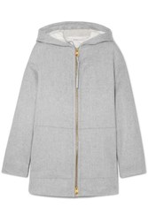 Agnona Convertible Hooded Cashmere Padded Jacket Gray