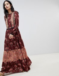 Maison Scotch Block Printed Maxi Dress Combo M Multi