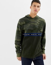 Abercrombie And Fitch Camo Colourblock Chest Logo Tape Hoodie In Green