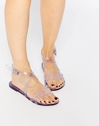 Melissa Tasty Ankle Strap Flat Sandals Clear