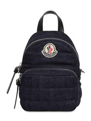 Moncler Small Kilia Quilted Denim Backpack Blue