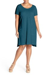 Plus Size Women's Eileen Fisher Hemp And Organic Cotton Scoop Neck Shift Dress Jewel