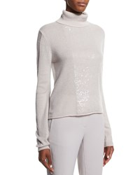 Halston Cashmere Turtleneck Sweater W Back Cutout Buff