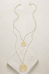Anthropologie Etched Coin Pendant Necklace Gold
