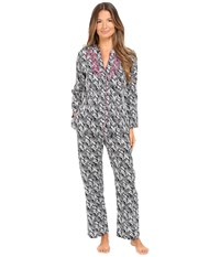 Oscar De La Renta Printed Cotton Sateen Pajama Black White Herrinbone Stripe
