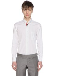 Thom Browne Cotton Poplin Shirt W Grosgrain Detail