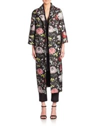 Adam By Adam Lippes Floral Opera Coat Black Floral