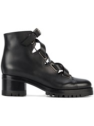 Valentino Lace Up Biker Boots Black