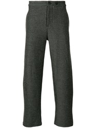 Lost And Found Ria Dunn Cropped Slim Fit Trousers Cotton Linen Flax Polyamide Wool Grey