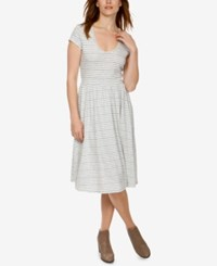 Lucky Brand Cotton Cutout Fit And Flare Dress Blue Multi