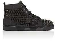 Christian Louboutin Men's Louis Orlato Flat Leather Sneakers Black