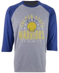 47 Brand '47 Men's Golden State Warriors Lockdown Raglan T Shirt Blue Gray