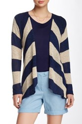 Lavand Chevron Striped Open Front Cardigan