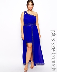 Little Mistress Plus Little Mistress Double Layer Maxi Mini Dress Blue