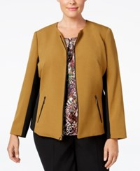 Kasper Plus Size Stretch Contrast Blazer Bronze Black