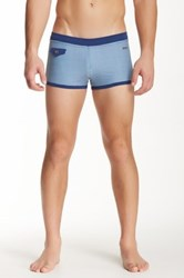 Parke And Ronen Ibiza Flap Pocket Square Cut Swim Trunk Blue