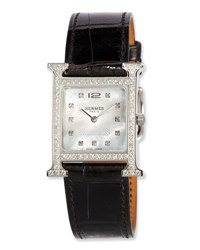 Herm S Heure H Mm Watch With Diamonds And Black Alligator Strap