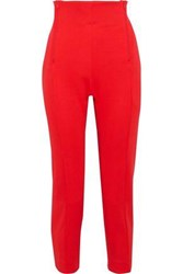 Y 3 Adidas Cropped Zip Detailed Jersey Track Pants Red