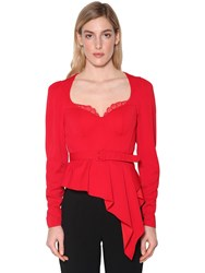 Self Portrait Belted Crepe Peplum Top Red