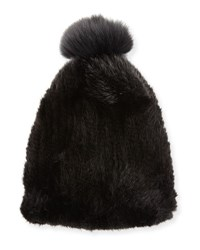 La Fiorentina Mink And Fox Fur Pompom Beanie Hat Black