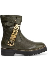 Moschino Embellished Textured Leather Boots Army Green