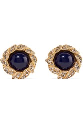 Ben Amun Gold Tone Stone And Crystal Clip Earrings One Size