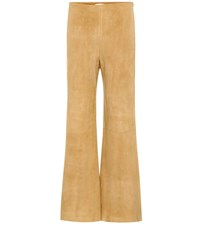 The Row Flared Suede Trousers Beige