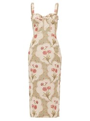 Brock Collection Pelagia Floral Print Corseted Midi Dress Beige Multi