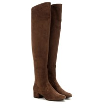 Saint Laurent Babies Suede Over The Knee Boots Brown