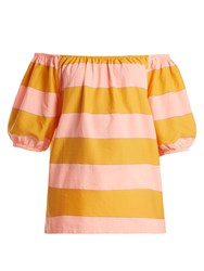 Ace And Jig Gelato Off The Shoulder Cotton Top Pink Multi