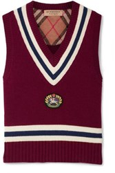 Burberry Maringa Logo Patch Striped Wool And Cashmere Blend Knit Vest Burgundy