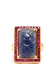 Jade Jagger Sapphire Ruby And Yellow Gold Surround Ring Blue