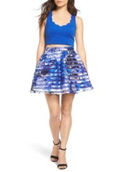 Dear Moon Colorblock Two Piece Dress Blue