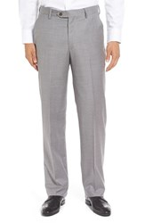 Berle Men's Flat Front Solid Wool Trousers Light Grey