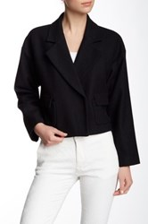 Pink Tartan Wool Blend Cropped Jacket Black