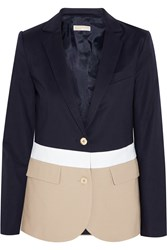 Michael Michael Kors Color Block Stretch Cotton Blazer Blue