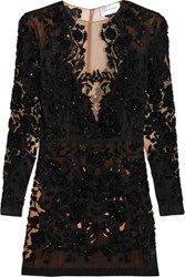 Zuhair Murad Embellished Organza Mini Dress Black