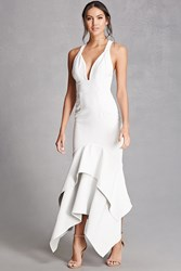 Forever 21 V Neck Tiered Gown Cream