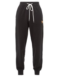 M Missoni Logo Embroidered Cotton Jersey Track Pants Black