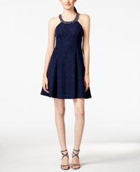 Betsy And Adam Petite Embellished Chiffon Dress Navy Silver