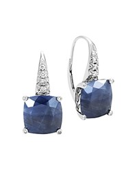 John Hardy Sterling Silver Classic Chain Magic Cut Sapphire Drop Earrings With Diamonds Blue Silver