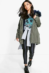 Boohoo Boutique Faux Fur Lined Parka Blue