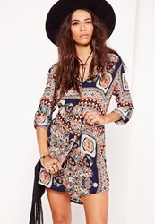 Missguided Tie Waist Paisley Print Shirt Dress Navy Orange Blue