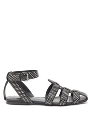 Saint Laurent Oak Studded Flat Leather Sandals Black Silver