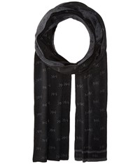 Michael Michael Kors Reversible Mk Muffler With Edge Stripe Black Charcoal Scarves