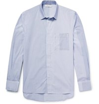 Public School Kit Raw Edged Striped Cotton Poplin Shirt Blue