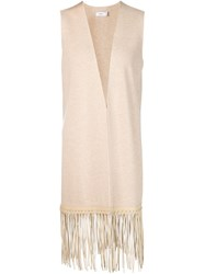 Vince Fringe Hem Vest Nude And Neutrals