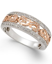 Macy's Men's Diamond Two Tone Openwork Wedding Band 1 2 Ct. T.W. In 14K White And Rose Gold